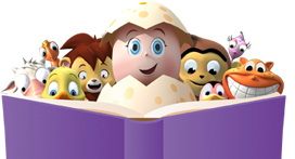 Reggie and the Reading Eggs critters reading a book